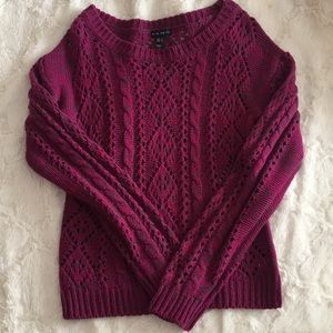 Deep magenta and gray knit sweater